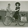 Washington (State) Participation - Man who biked from Washington state to Fair talking with woman