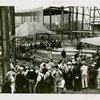 Westinghouse - Crowd at ceremony outside framework of exhibit