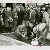 Westinghouse - Time Capsule - Grover Whalen and others sealing time capsule in ground while crowd watches