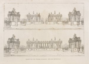 Designs for the western entrance into the metropolis.