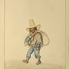 Man carrying satchel wearing poncho, moccasins, and tall, wide-brimmed hat.]