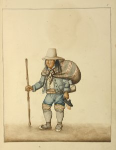[Man wearing tall hat and moccasins carrying a bundle tied around his shoulders, a walking stick, a pair of shoes and a horn.]