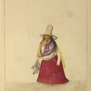 Woman in tall, wide-brimmed hat, long skirt and shawl holding several fish on a cord.]