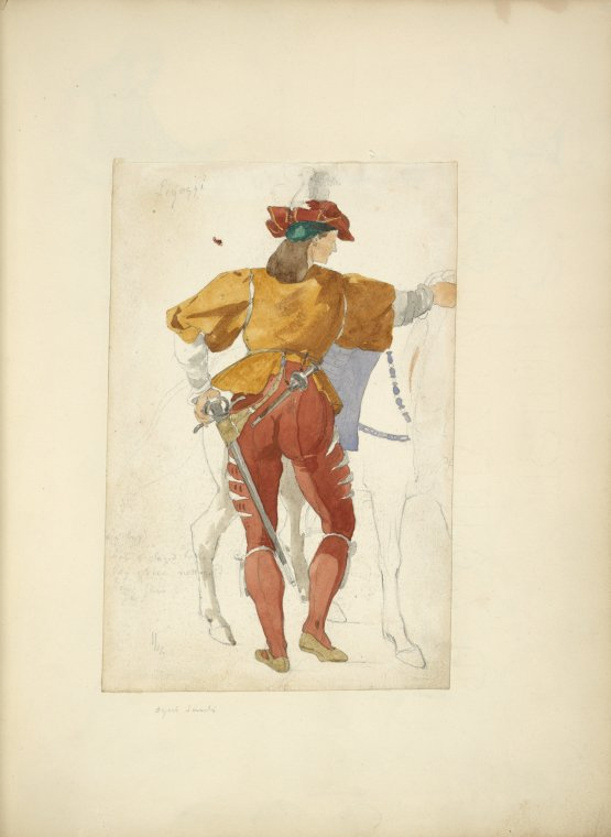 [Back view of man standing beside a horse] / [Jacopo] Ligozzi.