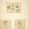 Heads in hats: Five men in various styles; Woman in circlet with train; Man in armored head piece