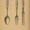 Design for silver knife, fork and spoon.