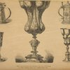"1. Silver cup (Jaminitzer) in the collection of the city of Nuremberg. 2-5. Silver drinking vessels from ""Ratisbon silver find."""