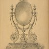 Silver toilet-glass, partly gilt and decorated with pearls and precious stones.