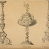 Bronze candelabrum, end of 16th century; Paten after a drawing in the Uffizi, Florence; Altar candelabrum in the Certosa, near Pavia, 17th century.