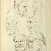 Studies of the head of a bearded man, and the head of a creature