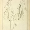 Three standing figures, seen from side and front