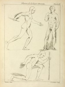 [Three male figures, one striding and one kneeling.]
