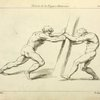 Two figures straining against a post