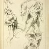 """Four studies of figures: one wrestling with a snake, one lifting a dead boar, and two """"Atlas"""" figures lifting a globe"""