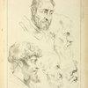 Five studies of men's heads, four in profile
