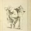 Head and torso of male stayr, and a female satyr