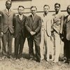 Melville Herskovits (4th from left) with, left to right, Canady, Johnson, Fujita (?), Chen, Chitambart (?), Woodson, and Thomas.