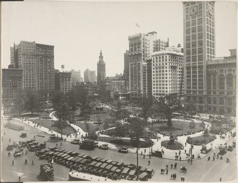 [Aerial view of Madison Square Park]