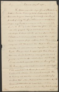 Thomas Jefferson. Autograph letter, signed, to Colonel Archibald Ritchie, May 8, 1781