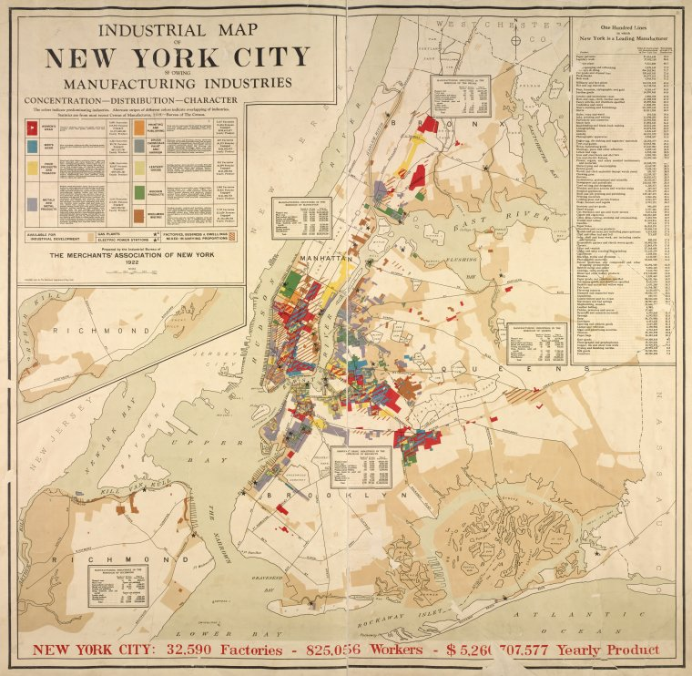Industrial map of New York City showing manufacturing industries – Map of Newyork City