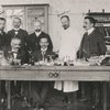 A group of psychiatrists in the psychiatric clinic of the University of Munich: Alois Alzheimer and Solomon C. Fuller seated in front row; standing in back row, left to right: Baroncini, Baroncini, Von Norbert, Ranke, and unidentified.