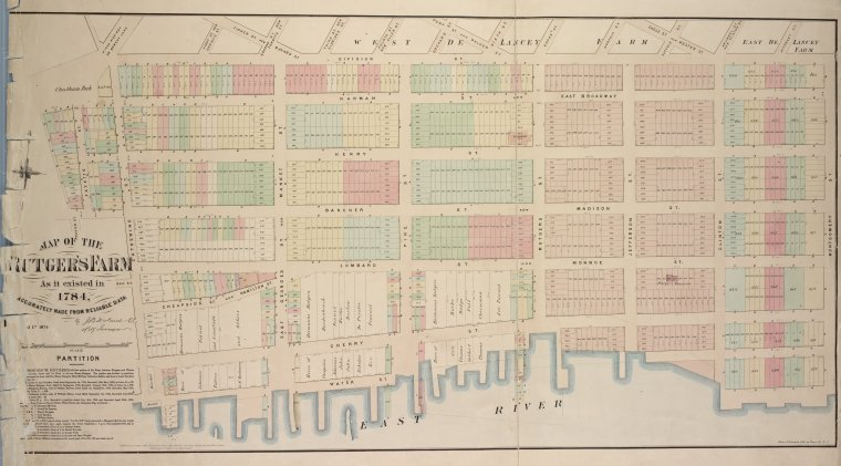 Map of the Rutger's Farm as it existed in 1784 / accurately made from reliable data by J.B. Holmes, C.E. & City Surveyor, April 1st, 1874.