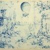 Le ballon de Charles et Robert. Carton de J.-B. Huet, pour la manufacture de toiles imprimées d'Oberkampf, à Jouy.