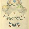 Flotille aérostatique d'Eugène Godard. Dessin aquarellé d'Eugène Godard.