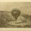 Le premier ballon du siège de Paris, le Neptune de Jules Duruof, sur las place Sainte-Pierre, à Montmartre. Peinture de l'époque.