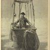 Gaston Tissandier dans sa nacelle. Aquarelle de Maurice Leloir (1887).