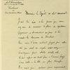 Lettre du Ct Brocard, ancien chef de l'escadrille des Cigognes, remerciant M. Lasies, député, d'avoir demandé à Guynemer les honneurs du Panthéon.
