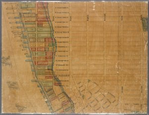Map showing the high and low water mark and the original city grants of lands under water made to various parties from 1686 to 1873, extending from Battery to Fifty-first Street, Hudson and East Rivers, New York City, also the several pier and bulkhead lines established from 1750 to 1873 / made under the direction of the Department of Docks ; carefully compiled and reduced from the maps of the U.S. Coast Survey and actual surveys made by the Department of Docks ... also from maps and documents on file in the office of the Comptroller of the City and County of New York, by Chas. K. Graham engineer in chief, John Mechan assistant engineer, David T. Keiller compiler & draughtsman.