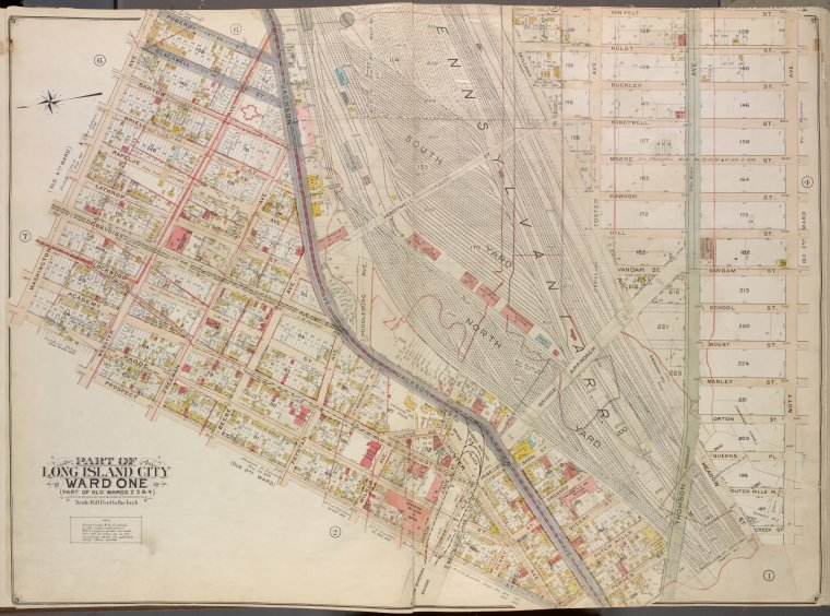 Queens, Vol. 2, Double Page Plate No. 3; Part of Long Island City Ward One (Part of Old Wards 2, 3 and 4); [Map bounded by Washington Ae., Pomeroy St. (8th Ave.), Jackson Ave., Skillman Ave., Van Pelt St., Nott Ave.; Including Thomson Ave., Purves St., Harris Ave., Hunter Ave., Prospect St., Radde St.]