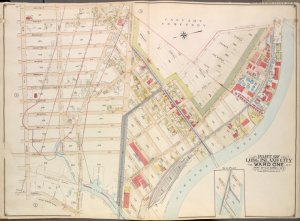Queens, Vol. 2, Double Page Plate No. 4; Part of Long Island City Ward One (Part of Old Wards 1 and 2); [Map bounded by Van Pelt St., Greenpoint Ave., Hunters Point Ave., Borden Ave., Howard St., Spring St., Preston St.; Including Pine St., Van Mater St., Thomas St., Doryea St., Newtown Creek, Water St., Creek St., Nott Ave.]