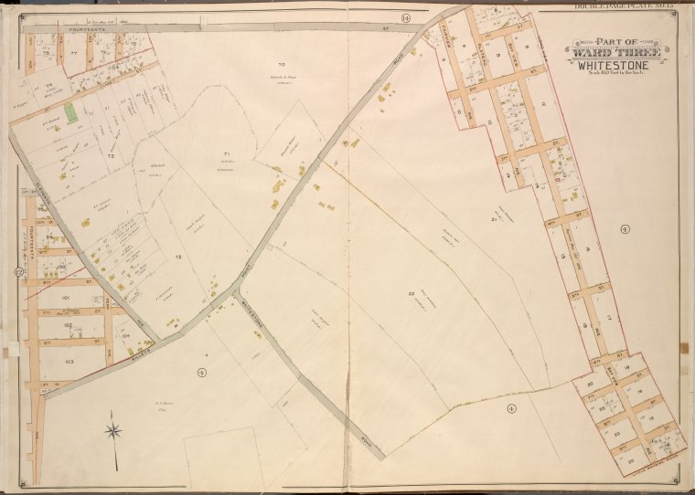 Queens, Vol. 3, Double Page Plate No. 15; Part of ward Three Whitestone; [Map bounded by 14th Ave., 11th Ave., Ave. A, Ave. B, Ave. C, Lane, Penn Ave., Willets Point Road, Whitestone Road, Fairview Ave., Plateau Ave., Bay View Ave.; Including 14th St., 13th St., 11th St., 10th St., 9th St., 8th St., 7th St., 6th St., 5th St., 4th St., 3rd St., 2nd St., 1st St.]
