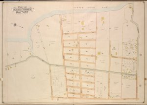 Queens, Vol. 3, Double Page Plate No. 16; Part of ward Three Bayside; [Map bounded by Bell Ave., Little Bayside Road, Shore Ave., Kneeland Ave., Bayside Ave., Bradish Ave., Nicoll Ave., Vista Ave., Cracheron Ave., Waldo Ave., Castor Ave., Franklin Ave.; Including Willetts St., Bowne St., Titus St., Pearsall St.]