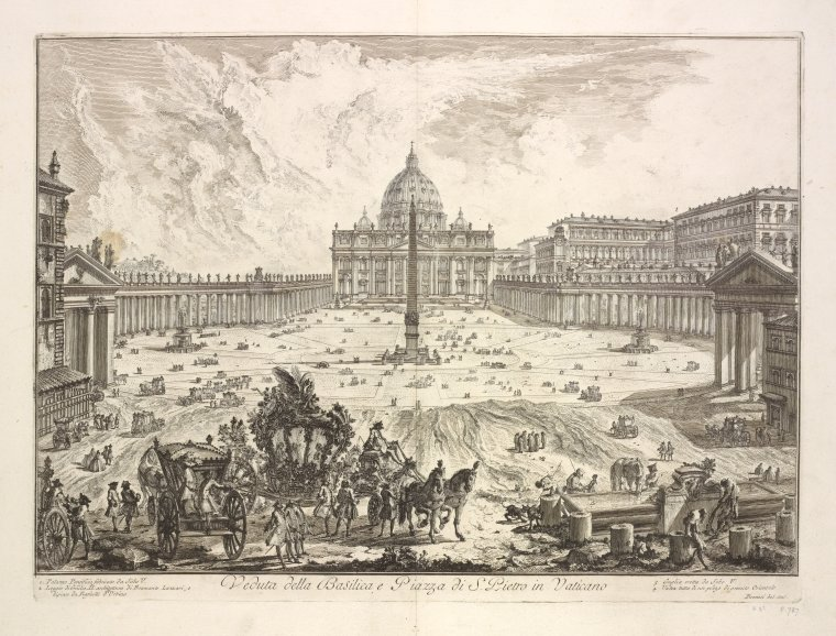 Fascinating Historical Picture of Basilica di San Pietro in Vaticano with St. Peters Basilica in 1748