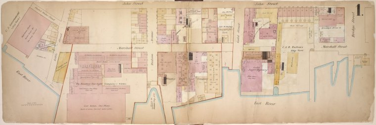 Double Page Plate No. 1; [Map bounded by John St., Bridge St., East River, Little St.; Including Marshall St., Hudson Ave., Gold St.]