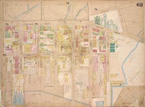 Brooklyn, Vol. 4, Double Page Plate No. 68; [Map bounded by Meserole Ave., Gem St., Franklin St., North 15th St., East River, Kent St., Green Point Ave.; Including Milton St., West St., Noble St., Oak St., Calyer St., Quay St.]