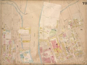 Brooklyn, Vol. 4, Double Page Plate No. 73; [Map bounded by Jacks Creek, Ranton St., Pequod St., Shawnet St., Paidge Ave., Prorost St., Eagle St., Du Pont St., Clay St., Box St.; Including Manhattan Ave. Late Union Place, Ash St., Oakland St., Newtown Creek, Ventron Ave., Jackson Ave., East 3rd St., East Ave., East 2nd St., Borden Ave., 1st St.]