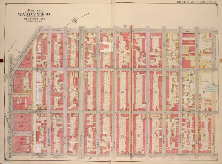 Brooklyn, Vol. 1, Double Page Plate No. 14; Part of Wards 3 & 10, Section 1 & 2; [Map bounded by 3rd Ave., Douglass St., Hoyt St.; Including  Fulton St., Flatbush Ave.]