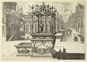 [Well in plaza with trough.]