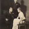 """Earle Larrimore and Selena Royale (seated) with Stanley Ridges (standing) in """"Days Without End."""""""