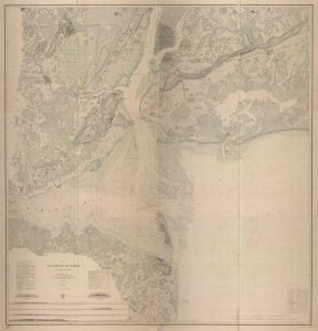 Map of New-York Bay and Harbor and the environs / founded upon a trigonometrical survey under the direction of F. R. Hassler, superintendent of the Survey of the Coast of the United States ; triangulation by James Ferguson and Edmund Blunt, assistants ; the hydrography under the direction of Thomas R. Gedney, lieutenant U.S. Navy ; the topography by C. Renard and T.A. Jenkins assists.