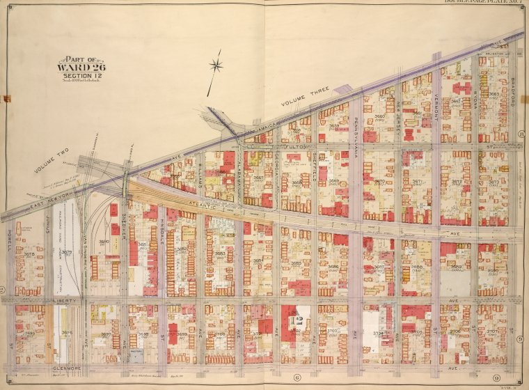 Brooklyn, Vol. 4, Double Page Plate No. 7; Part of Ward 26; Sections 12; [Map bounded by East New York Ave., Jamaica Ave., Bradford St.; Including Glenmore Ave., Powell St.]