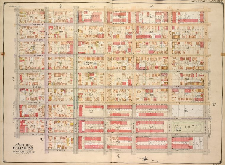 Brooklyn, Vol. 4, Double Page Plate No. 9; Part of Ward 26; Sections 12 & 13; [Map bounded by Ashford St., Dumont Ave., Wyona St.; Including Glenmore Ave., Bradford St., Liberty Ave.]