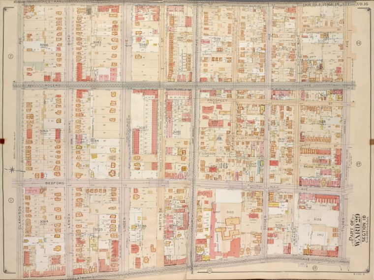 Brooklyn, Vol. 5, Double Page Plate No. 16; Part of Ward 29, Section 16; [Map bounded by Nostrand Ave., Tilden Ave. (Vernon Ave.); Including Flatbush Ave., Clarkson Ave.]