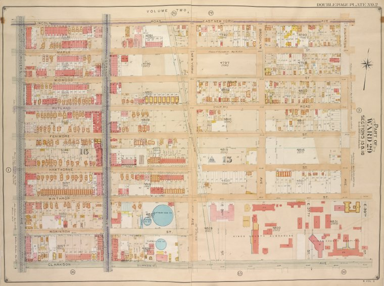 Brooklyn, Vol. 5, Double Page Plate No. 2; Part of Wards 29, Section 15 & 16; [Map bounded by Lincoln Road, East New York Ave., Kingston Ave.; Including E. 39th St., Clarkson Ave., Rogers Ave.]
