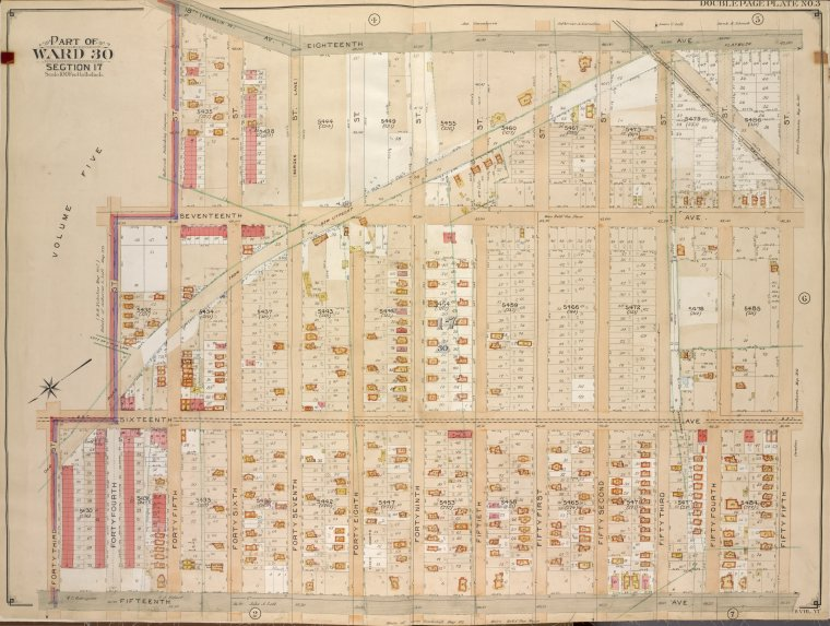 Brooklyn, Vol. 6, Double Page Plate No. 3; Part of Ward 30, Section 17; [Map bounded by 18th Ave., 55th St., 15th Ave.; Including 43rd St., 16th Ave., 44th St., 45th St.]