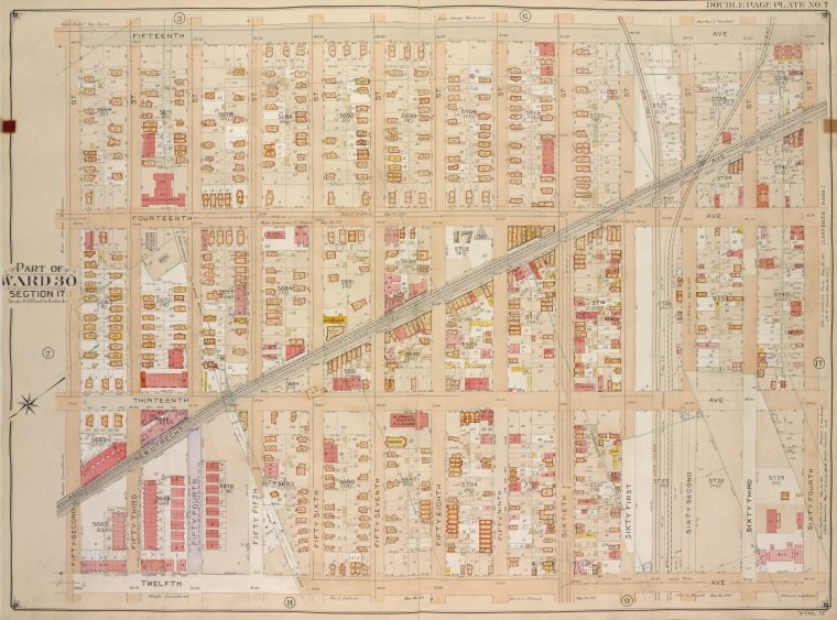 Brooklyn, Vol. 6, Double Page Plate No. 7; Part of Ward 30, Section 17; [Map bounded by 15th Ave., 64th St.; Including 12th Ave., 52nd St.]